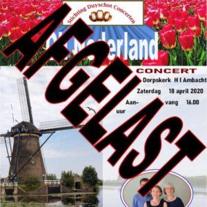 Concert 18 april afgelast