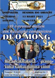 Duyschot-concert op 13 maart